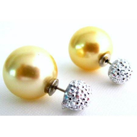 UER733 Timeless Beauties Yellow Pearl Double Sided Stud Earrings Pave Ball Earrings