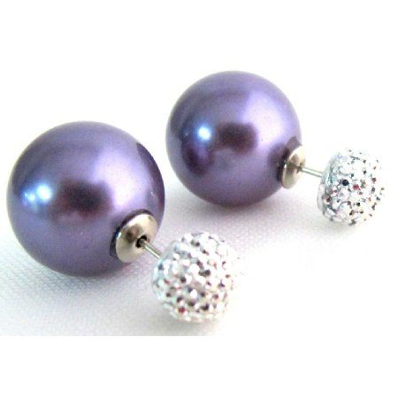 UER732 Classic Elegant Double Sided Stud Earrings Purple Pearl Pave Ball Earrings