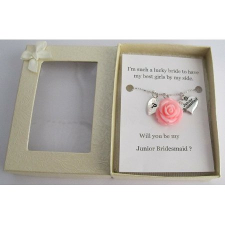 GC515   Junior Bridesmaid Gift Personalized Necklace Lite Pink Rose Pendant