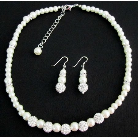 GC413 White Pearl Rhinestone Necklace Earrings Flower Girl Christmas Birthday Gift