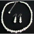 GC413 White Pearl Rhinestone Necklace Earrings Flower Girl Christmas Birthday Gift