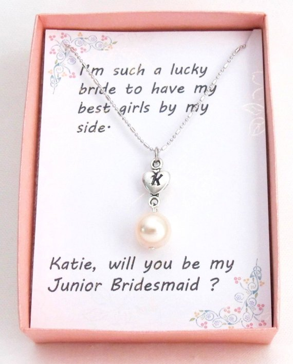 Personalized Pearl Necklace Initial  Heart Charm, Bridesmaid Necklace