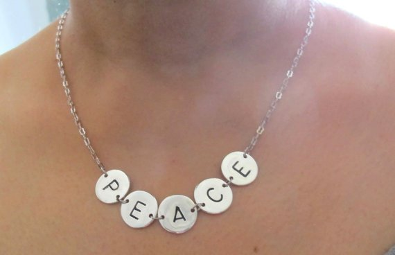 Five Initial  Mom Of Five Family Hand Stamped Letter Necklace