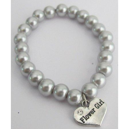 GC511 Junior Bridesmaid Flower Girl Gray Pear Bracelet Wedding Gift