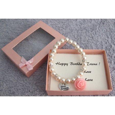 GC509 Happy Birthday Bracelet Blush Pink Pearl Bracelet