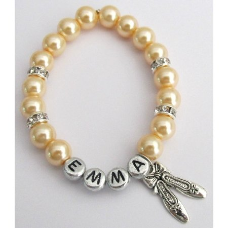 GC466  Ballerina Jewelry Ballet Shoe Bracelet Party Favor Gift Yellow Pearls
