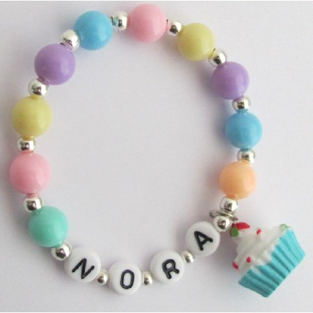 GC407 Birthday Party Favor Bracelet Cupcake Charm Multicolor Pearls