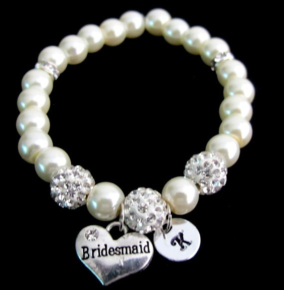 Bridesmaid Pearl Bracelet Rhinestone Bling Vintage Classic Wedding Jewelry