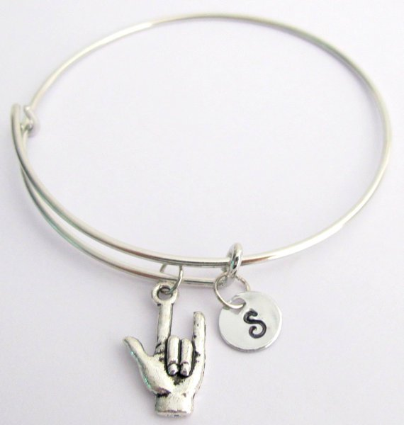 Bangle Bracelet Adjustable I love You Sign Language