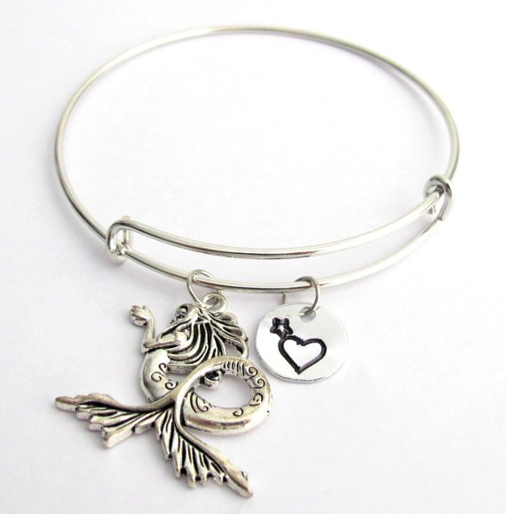 Mermaid Bangle Monogram, Initial bracelet Adjustable Expandable Bracelet