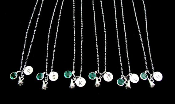 Personalized Cheerleader Necklace - Cheer Team Necklaces -Hand stamped Initial Necklace