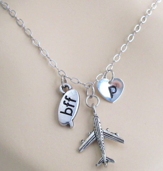 Airplane Necklace, Bff Necklace Best Friends Forever Jewelry  airplane charm, travel necklace,