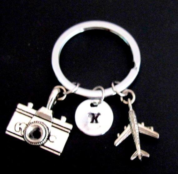 Airplain Key chain, airplane key ring,cmera Key chain, airplane keyring , best friend jewelry