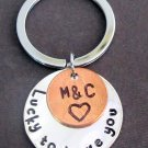 Lucky to Have You Handstamped Disc W/Penny Coin Keychain,Couples Key Chain,Anniversary Gift
