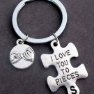 I Love You to Pieces KeyChain W/Pinky Promise Charm,Puzzle Piece Couples Keyring