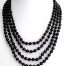 Black Pearl 100 Inches Long Necklace Hand Knotted Multi Strand Statement Bridal