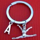 Gymnast Keychain,Gymnast Key Ring,Exercise Keychain,Initial Personalized Gymnast