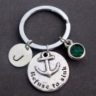 Refuse to Sink Personalized Key Chain,Anchor Key Ring,Nautical Survivor Keychain