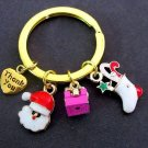 Christmas Charms Gold Keychain,Santa Clause,Sock,3D gift box,heart charm Keyring