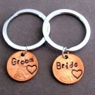 Groom and Bride Lucky Penny Keychain, Personalized Stamped Penny Couple Keychain