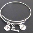 Be Positive Adjustable Expandable Bangle Bracelet, Hope Faith Charm Bracelet