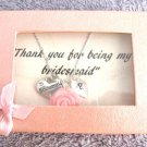 Personalized Bridesmaid with Rose Flower Hand Stamped Initial Children's Jr.Brid