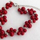 Red Pearl Twisted Bracelet Wtih Rhinestone Bridesmaid Flower Girl Bracelet