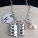 Personalized Book Necklace Hand stamped Monogram Book Lover Necklace Party Favor