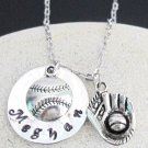 Personalized Baseball Necklace Hand stamped baseball mitt Player Name Necklace