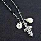 Cross Personalized Initial Necklace with Freshwater Pearl, Baptism Necklace