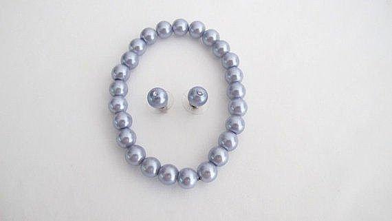Lavender Pearl Jewelry Stretchable Bracelet Earrings Wedding Set