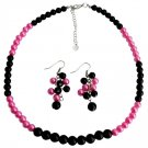 Black Fuchsia Cluster Earrings Necklace Fashionable Bright Wedding Jewelry