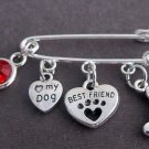 Love my dog Brooch,Dog Lover Brooch,I LOVE My DOG Small Brooch,dog jewelry