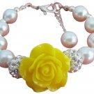 Happy Holidays Gift Yellow Flower White Pearl Bracelet