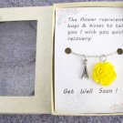 Get Well Soon Gift Handmad Necklace With Yellow Flower Pendant Gift Card