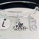 Music Bangle Bracelet,Music Lover Gift,I love music bangle Personalized Music Je