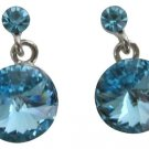 Celebrating The Power of Love Aquamarine Blue Round Crystal Earrings
