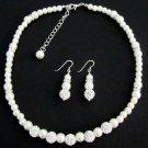 White Pearl Rhinestones Necklace Earrings Flower Girl Birthday Gift