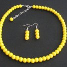 Yellow pearl necklace set Wedding,bridesmaid necklace Yellow bead jewelry set