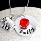 Personalized Elephant lover Necklace Hand Stamped Name Birthstone Girl Necklace