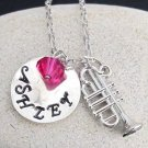 Trumpet charm Name Necklace,School Band Personalized Name Necklace,Band Jewelry