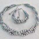 Gray Pearls Braided 3 strand Necklace & Bracelet,Wedding Jewelry,Bridesmaid gift