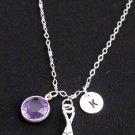 Silver Ice HockeyPersonalize hockey sticks charm necklace, birthstone,Initial