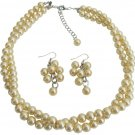 Maid of Honor Jewelry Set In Yellow Pearls Twisted Necklace With Grape Earrings