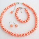 Orange Pearl Set Orange Pearl Necklace Earrings Bracelet Set Bridesmaid jewelry