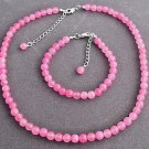 Coral Pink Pearl Necklace,Coral Pink Pearl Bracelet,Bridesmaid gift set