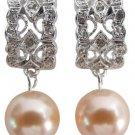 Bridesmaid Earrings Peach Pearl Drop Rhinestones