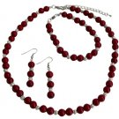 Gift Your Love On All Occasion Gift Red Pearls Silver Beads Jewelry Set