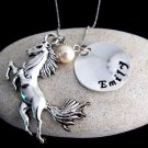 Horse Personalized Necklace add your Name & Birthstone Jewelry