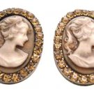 Valueable Gift For Your Mother Vintage Cameo Earrings Jewelry with Crystal